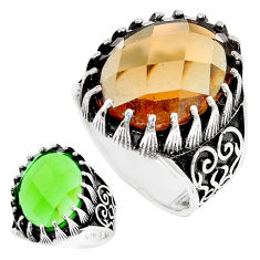 925 sterling silver 14.33cts green alexandrite (lab) mens ring size 9.5 c11069