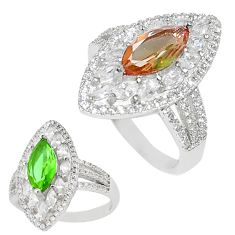 925 sterling silver green alexandrite (lab) white topaz ring size 6.5 c20656