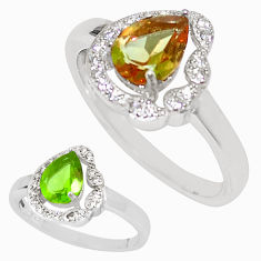 925 sterling silver green alexandrite (lab) white topaz ring size 8.5 c21781
