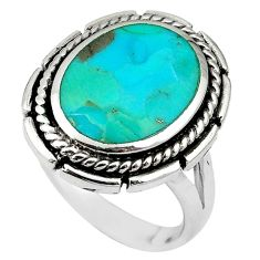 925 sterling silver green arizona mohave turquoise enamel ring size 8 c10635