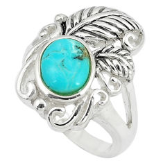 925 sterling silver 2.74cts green arizona mohave turquoise ring size 5.5 c10658