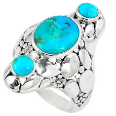 925 sterling silver 4.91cts green arizona mohave turquoise ring size 5.5 c10675