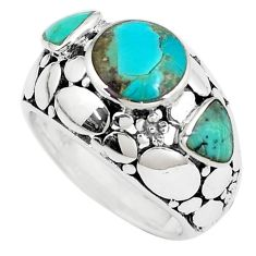 925 sterling silver 5.62cts green arizona mohave turquoise ring size 6.5 c10679