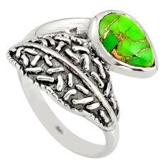 925 sterling silver 2.23cts green copper turquoise solitaire ring size 8 r36904
