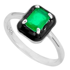925 sterling silver 1.74cts green emerald (lab) black enamel ring size 6 c20025