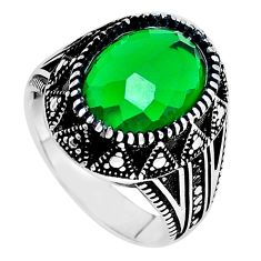 6.20cts green emerald (lab) 925 sterling silver mens ring jewelry size 9 c11504