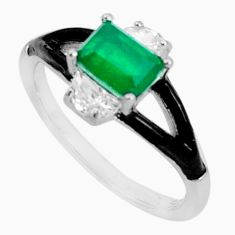 925 sterling silver 2.95cts green emerald (lab) topaz enamel ring size 8 c19293
