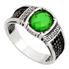 925 sterling silver 4.91cts green emerald (lab) topaz mens ring size 11 c26275