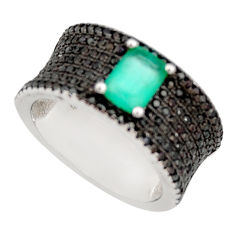925 sterling silver 3.27cts green emerald (lab) topaz ring size 6.5 c9099