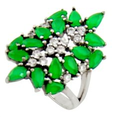 925 sterling silver 6.26cts green emerald (lab) topaz ring jewelry size 8 c9880