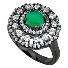 925 sterling silver green emerald quartz black rhodium topaz ring size 7 c22969