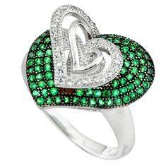 925 sterling silver green emerald quartz topaz heart ring size 8 c23718