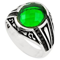 925 sterling silver green emerald quartz topaz mens ring size 10.5 c11385