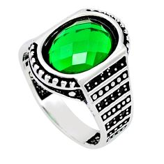 925 sterling silver green emerald quartz topaz mens ring size 9.5 c11502