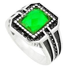 925 sterling silver green emerald quartz topaz mens ring size 10 c11506