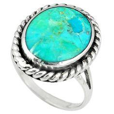 925 sterling silver green kingman turquoise enamel ring size 8 c10624