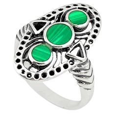 925 sterling silver green malachite (pilot's stone) ring size 5.5 c22329