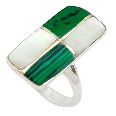 925 sterling silver green malachite (pilot's stone) ring jewelry size 6.5 c26155
