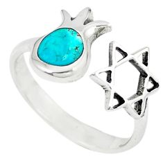 925 sterling silver green turquoise tibetan adjustable ring size 6 c10743
