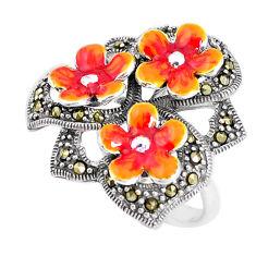 925 sterling silver 9.26gms marcasite enamel flower ring jewelry size 7 c21390