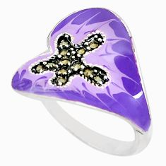 925 sterling silver 6.48gms marcasite enamel ring jewelry size 8.5 c16103