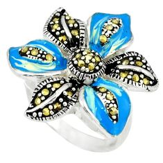 925 sterling silver marcasite multi color enamel ring jewelry size 7.5 c18300