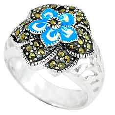 925 sterling silver marcasite multi color enamel ring jewelry size 8.5 c18463
