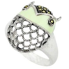 925 sterling silver marcasite white enamel ring jewelry size 7 c18686