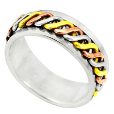 925 sterling silver meditation two tone spinner band ring jewelry size 5 c20982