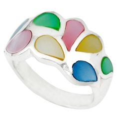 925 sterling silver multi color blister pearl enamel ring size 5.5 a46480 c13326