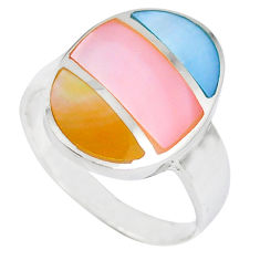 925 sterling silver multi color blister pearl enamel ring size 6.5 c12868