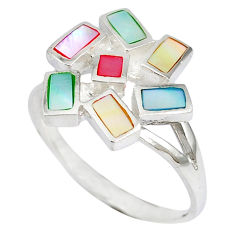 925 sterling silver multi color blister pearl enamel ring size 8.5 c12915