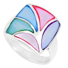 925 sterling silver 4.25gms multi color blister pearl enamel ring size 7 c22732