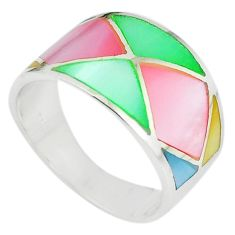 925 sterling silver multi color blister pearl enamel ring size 8 a67707 c13038