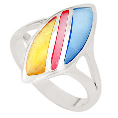 925 sterling silver multi color blister pearl enamel ring size 8 c12916