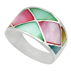 925 sterling silver 4.89gms multi color blister pearl enamel ring size 8 c26298