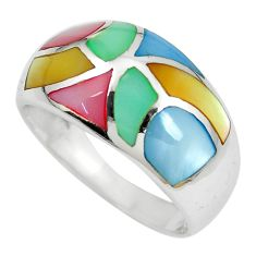 925 sterling silver 5.47gms multi color blister pearl enamel ring size 9 c12994
