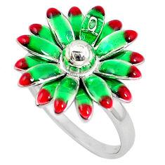 925 sterling silver multi color enamel flower ring jewelry size 8 c18377