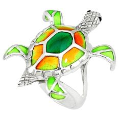 925 sterling silver multi color enamel tortoise ring jewelry size 6.5 c20743