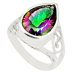 925 sterling silver multi color rainbow topaz pear ring jewelry size 7 c23963