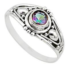 Silver 0.83cts multi color rainbow topaz graduation handmade ring size 9 t9739