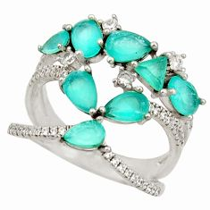 925 sterling silver 6.84cts natural aqua chalcedony topaz ring size 8 c10312