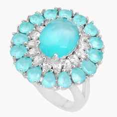 925 sterling silver 8.07cts natural aqua chalcedony topaz ring size 8 c19212