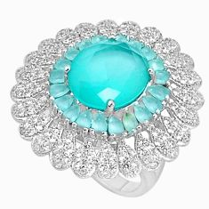 925 sterling silver 11.73cts natural aqua chalcedony topaz ring size 8 c19994