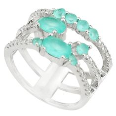 925 sterling silver natural aqua chalcedony white topaz ring size 7.5 c19963