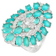 925 sterling silver natural aqua chalcedony white topaz ring size 7.5 c22891