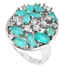 925 sterling silver natural aqua chalcedony white topaz ring size 7 c22892