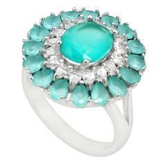 925 sterling silver natural aqua chalcedony white topaz ring size 9 c19211