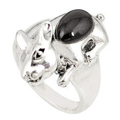 925 sterling silver natural black onyx fancy ring jewelry size 6.5 c21664