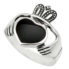 925 sterling silver 4.21cts natural black onyx heart mens ring size 8 c9783